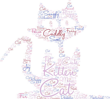 Cat word cloud on a white background. 矢量图像