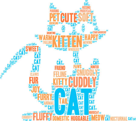 Cat word cloud on a white background. Illustration