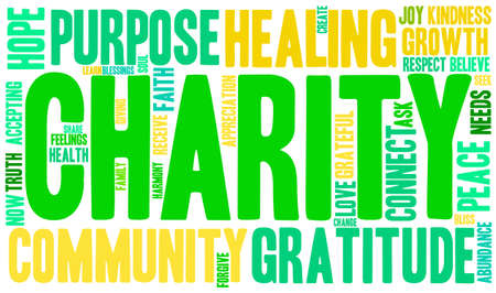 Charity word cloud on a white background. Illustration