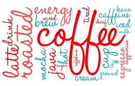Koffie woord wolk op een witte achtergrond. Stockfoto - 68816575