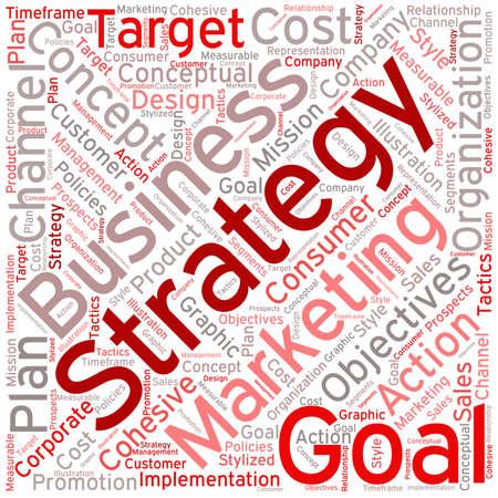 Bedrijfsstrategie woordwolk op een witte achtergrond.