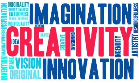 creativity: Creativity word cloud on a white background.
