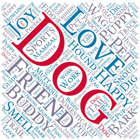 buddy: Dog word cloud on a white background. Illustration