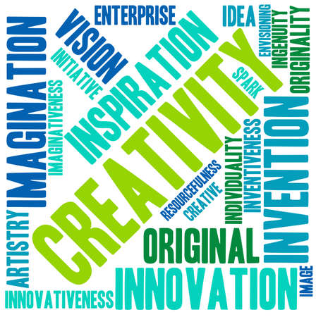 envisioning: Creativity word cloud on a white background.
