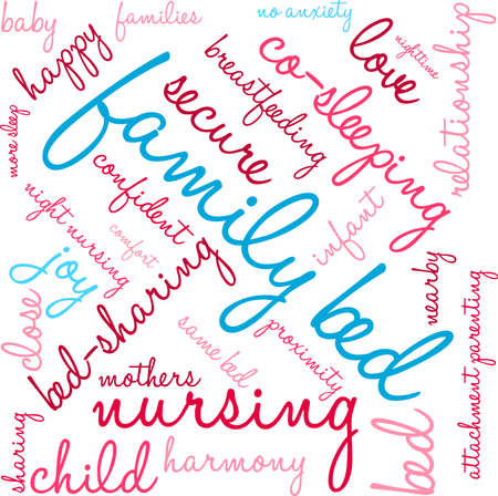 Family Bed word cloud on a white background. Ilustrace
