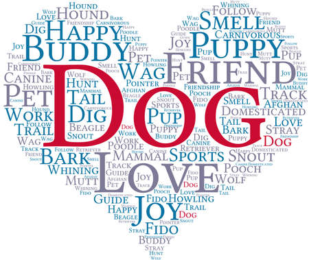 whining: Dog word cloud on a white background. Illustration