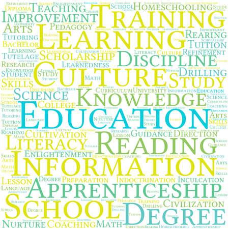 Educación nube de palabras sobre un fondo blanco. Foto de archivo - 69074599
