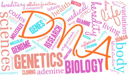 adenine: DNA word cloud on a white background. Illustration