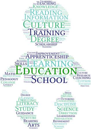 Educación nube de palabras sobre un fondo blanco. Foto de archivo - 69074633
