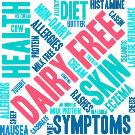 allergens: Dairy Free word cloud on a white background. Illustration
