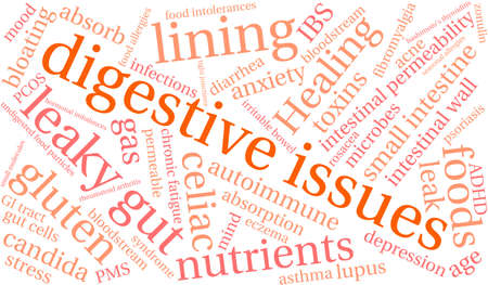 hormonal: Digestive Issues word cloud on a white background.