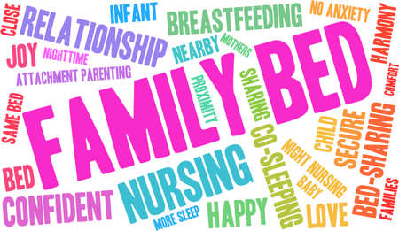 touch sensitive: Family Bed word cloud on a white background. Illustration
