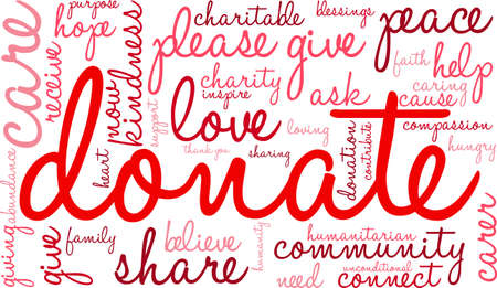 unconditional: Donate word cloud on a white background.