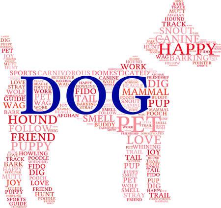 buddy: Dog Shaped Dog word cloud on a white background. Illustration