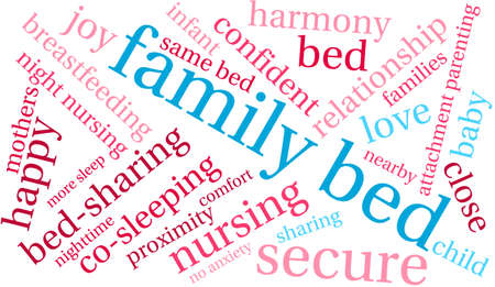 gentleness: Family Bed word cloud on a white background. Illustration