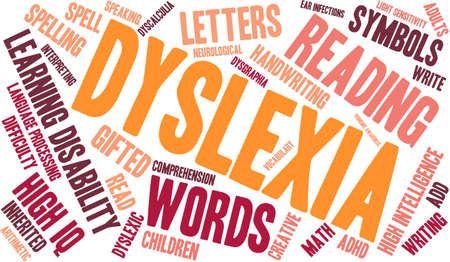 Dyslexia word cloud on a white background.