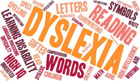 Nuvola parola dislessia su uno sfondo bianco. Archivio Fotografico - 69074434