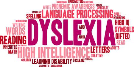 dyslexia: Dyslexia word cloud on a white background.