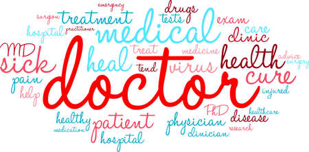 Doctor word cloud on a white background.