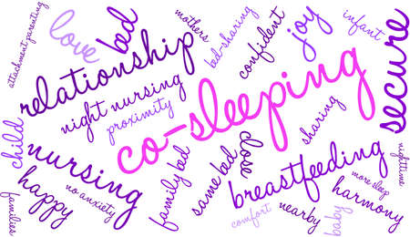 gentleness: Co-Sleeping word cloud on a white background. Illustration