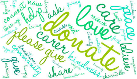 blessings: Donate word cloud on a white background.