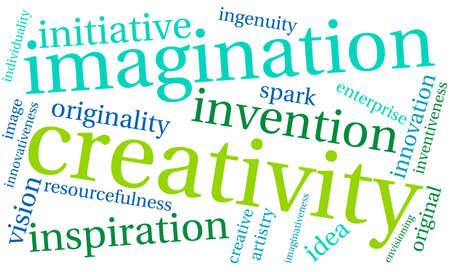 imaginativeness: Creativity word cloud on a white background.