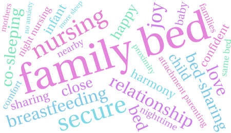 infant bathing: Family Bed word cloud on a white background. Illustration