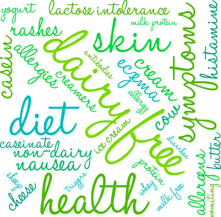 Dairy Free word cloud on a white background. 일러스트