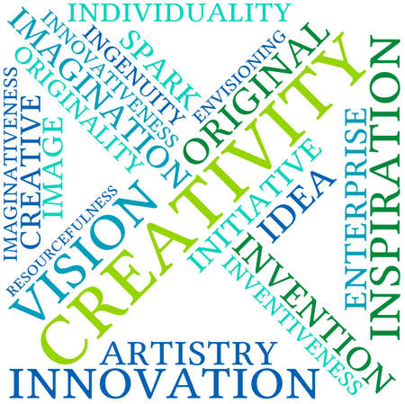 resourcefulness: Creativity word cloud on a white background.