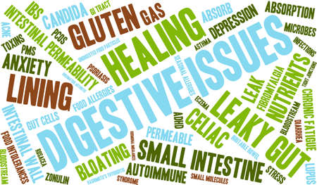 bowel: Digestive Issues word cloud on a white background.