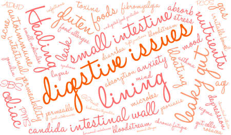 bloating: Digestive Issues word cloud on a white background.