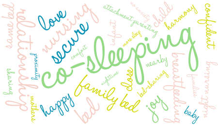 responsive: Co-Sleeping word cloud on a white background. Illustration