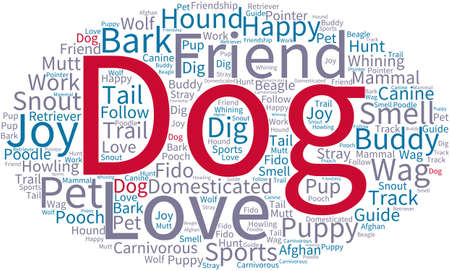 wag: Dog word cloud on a white background. Illustration