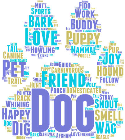 Dog word cloud on a white background. Illustration