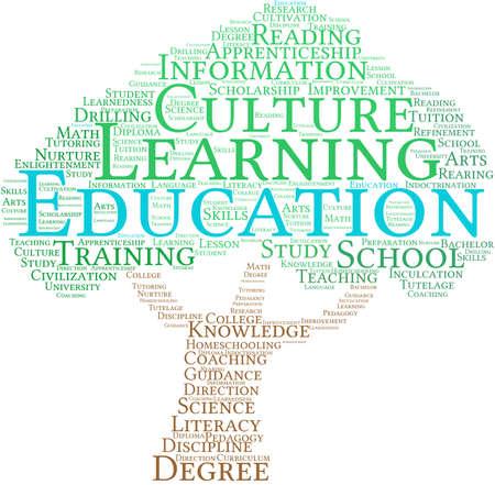 Educación nube de palabras sobre un fondo blanco. Foto de archivo - 69074996