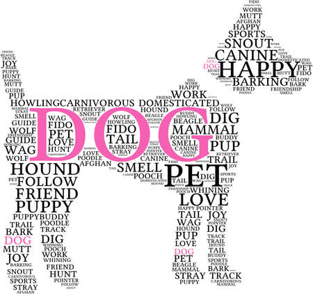 domesticated: Dog Shaped Dog word cloud on a white background. Illustration