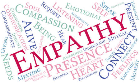 empatia: Empathy word cloud on a white background. Vectores