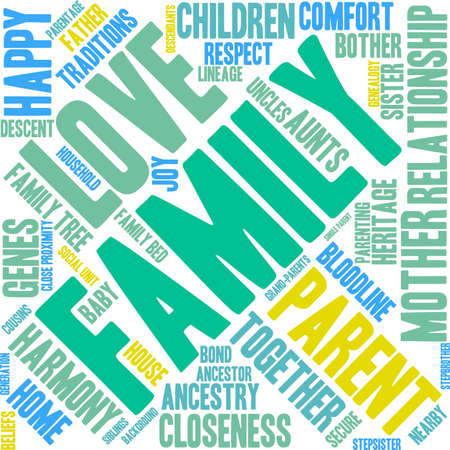 parentage: Family word cloud on a white background.