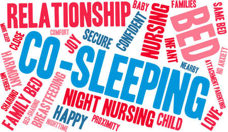 maternal: Co-Sleeping word cloud on a white background. Illustration