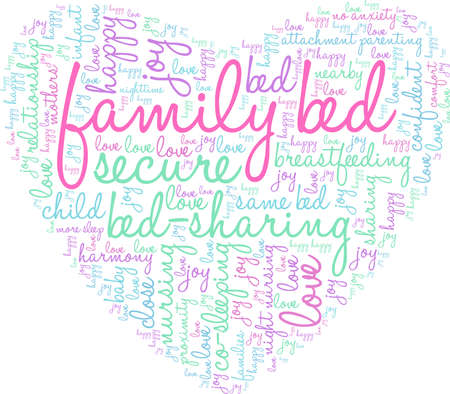 Family Bed word cloud on a white background. Çizim