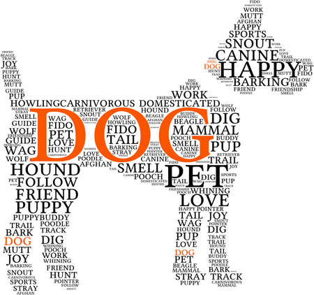wag: Dog Shaped Dog word cloud on a white background. Illustration