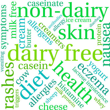 Dairy Free word cloud on a white background. Vettoriali