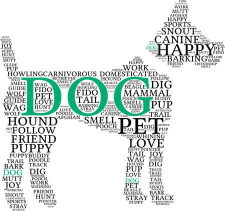 Dog Shaped Dog word cloud on a white background. Stock Illustratie