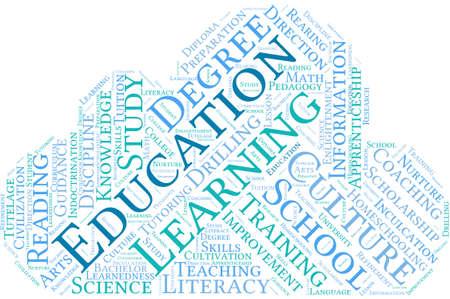 Educación nube de palabras sobre un fondo blanco. Foto de archivo - 69250553
