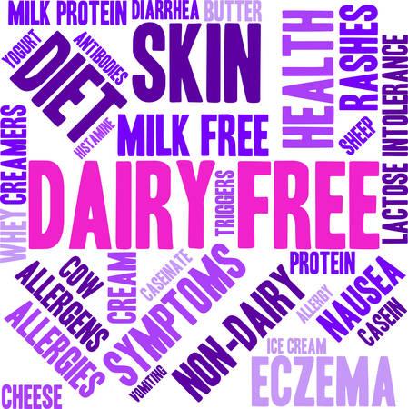 Dairy Free word cloud on a white background. Ilustração