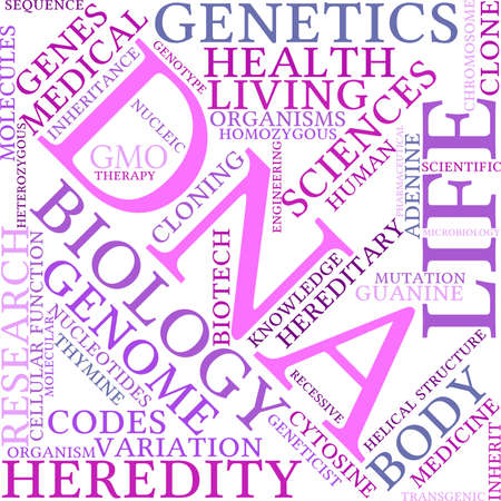 recessive: DNA word cloud on a white background. Illustration