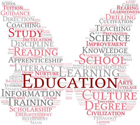 Educación nube de palabras sobre un fondo blanco. Foto de archivo - 69250624