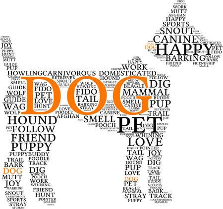 Hund geformt Hund Wortwolke auf einem weißen Hintergrund. Standard-Bild - 69250634