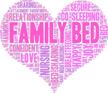 caregivers: Family Bed word cloud on a white background. Illustration