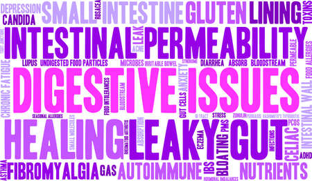 irritable bowel syndrome: Digestive Issues word cloud on a white background.